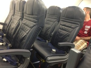 Seats on Spirit Airlines don't recline. Photo by Barb DeLollis.