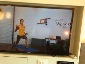 A workout video in a guest room at IHG's new EVEN hotel.