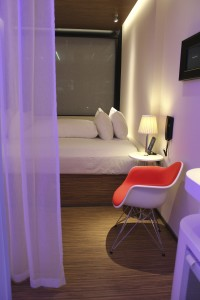 The citizenM in New York's Time Square area offers smaller rooms but plenty of public living space. Photo by Barb DeLollis.