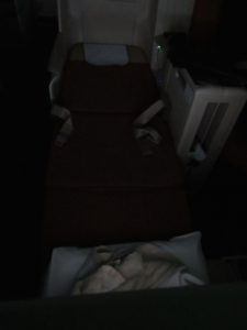 Fully Flat Seat (Pardon the lighting, my father was asleep)