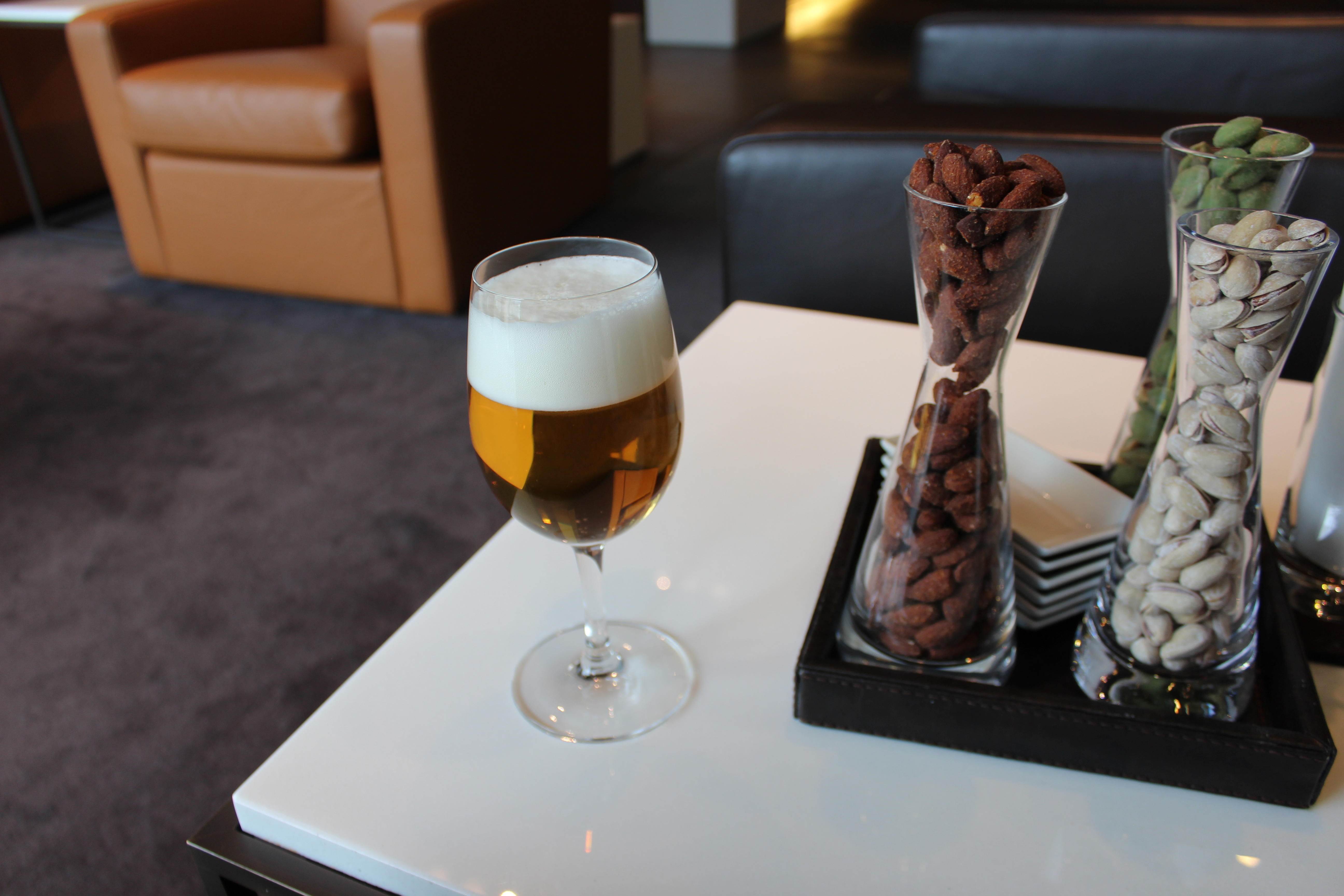 Lufthansa First Class Terminal German Beer and Nuts