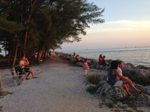 Locals and tourists alike hang out at Ft. Zach to wait for the big show - the sunset!