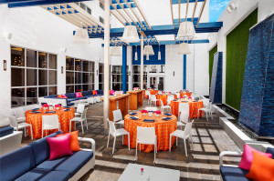 Pro shot shows the interior courtyard where Travel Update readers met July 21.  Photo courtesy of Hilton Cabana.