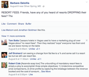 Screen shot of the lively discussion on my Facebook page about resort fees.