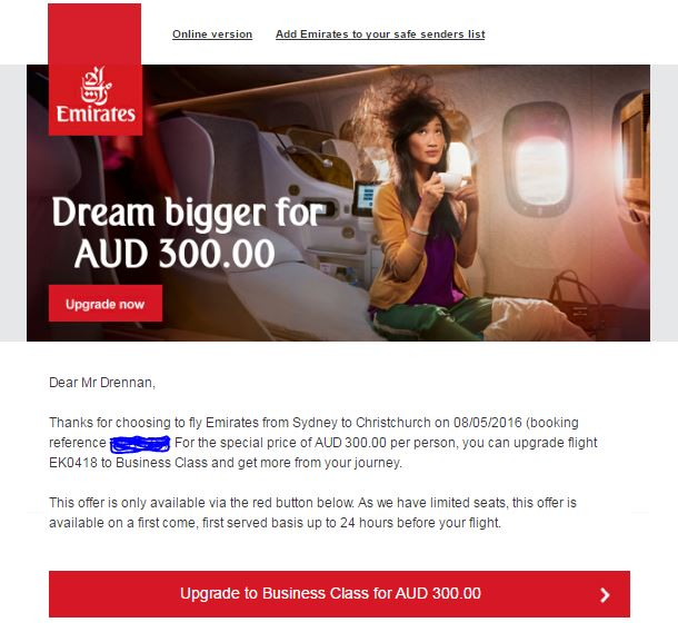 Emirates upgrade email