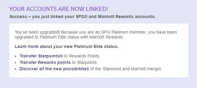 Success! Matched on the Starwood side grants me immediate Marriott Platinum Elite Benefits!
