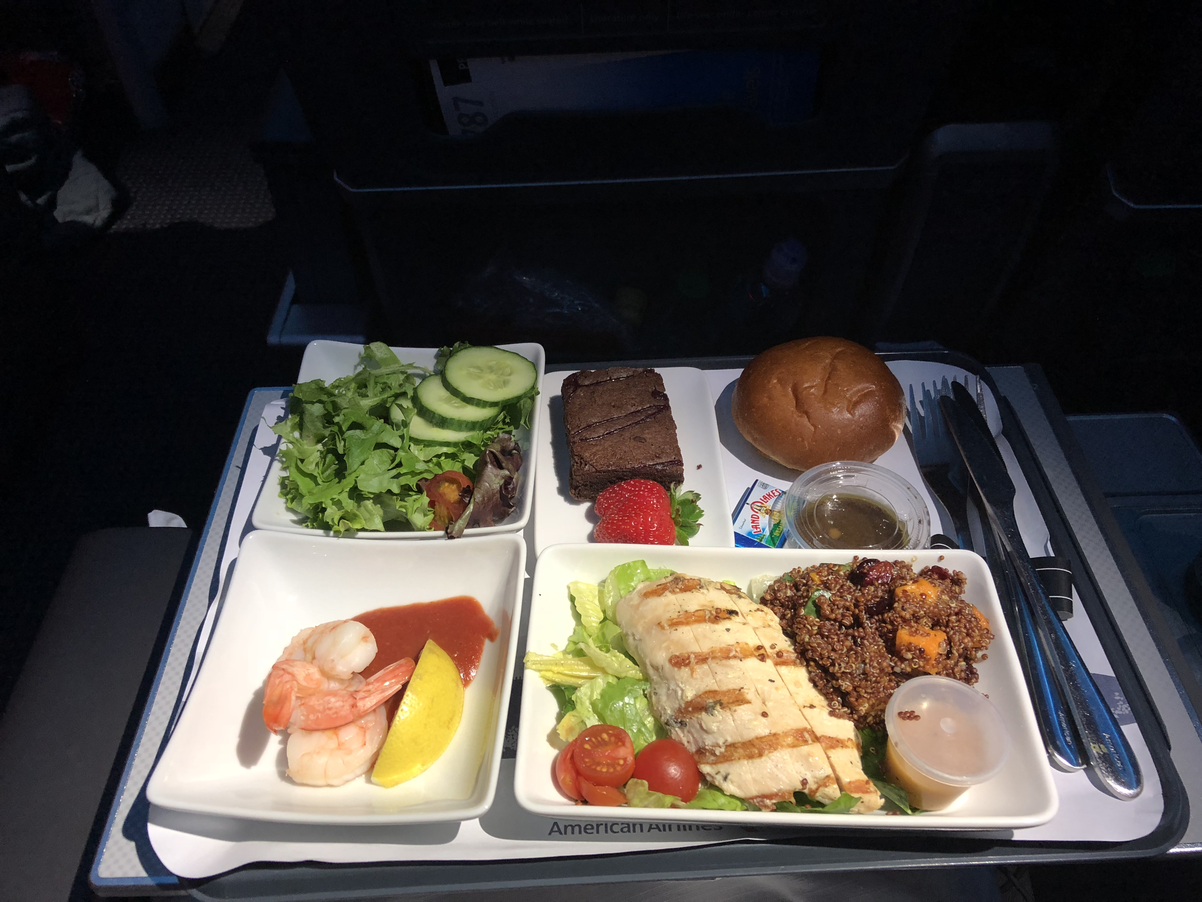 American Airlines Premium Economy Dinner Service LAX-AKL
