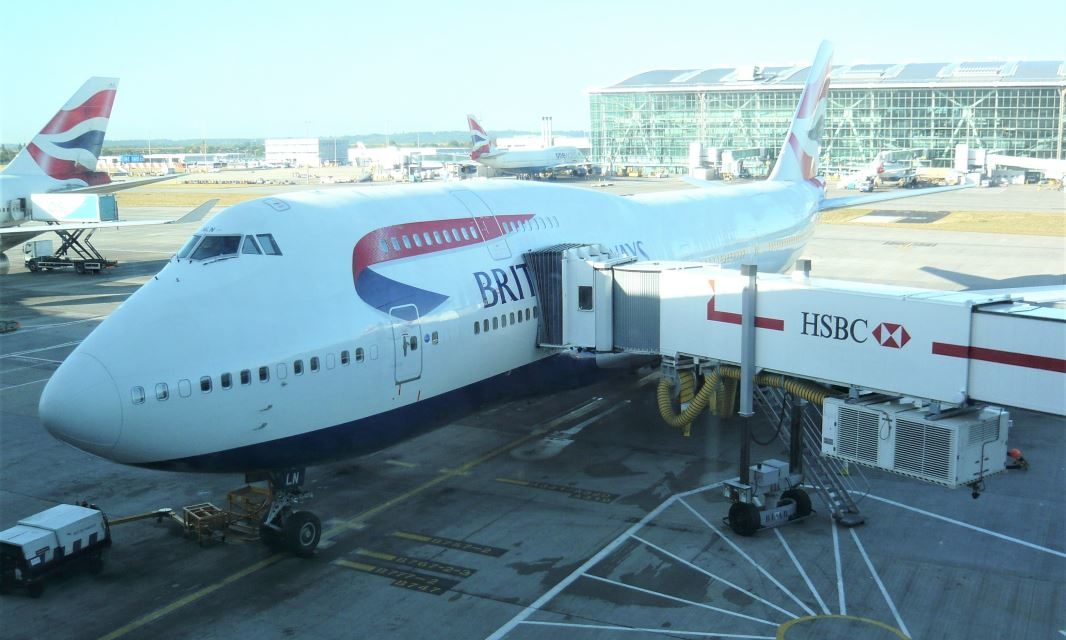 What was it like flying World Traveller Plus on a British Airways 747 to Washington DC in 2012?