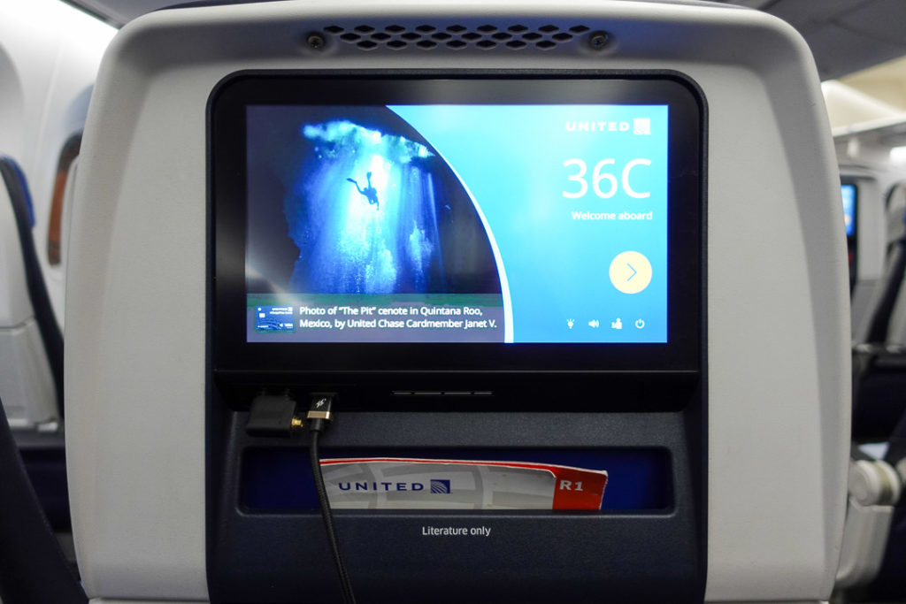 United Airlines Economy Class Monitor